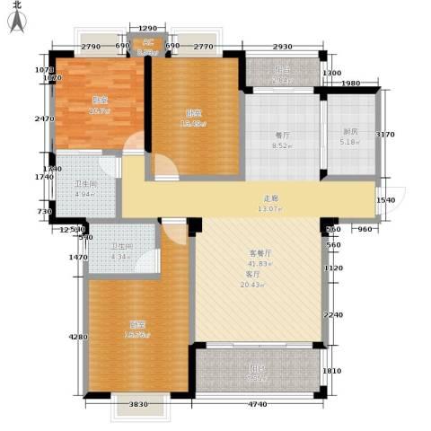 盛祥现代城1厅2卫1厨123.00㎡户型图