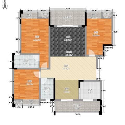 海宇西苑3室0厅2卫1厨128.00㎡户型图