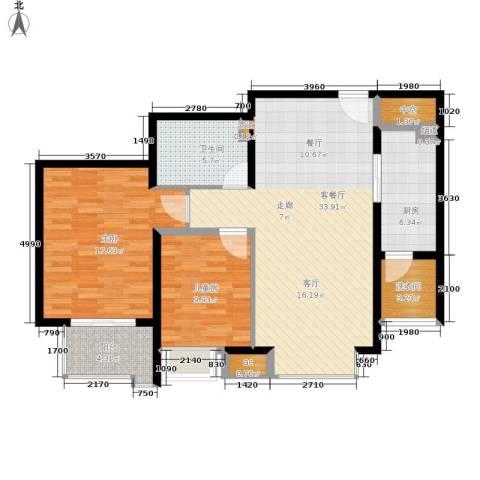 龙熙半岛2室1厅1卫1厨119.00㎡户型图