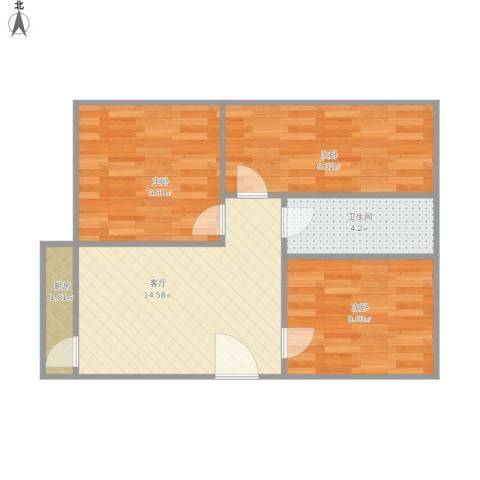 怡景花园3室1厅1卫1厨66.00㎡户型图