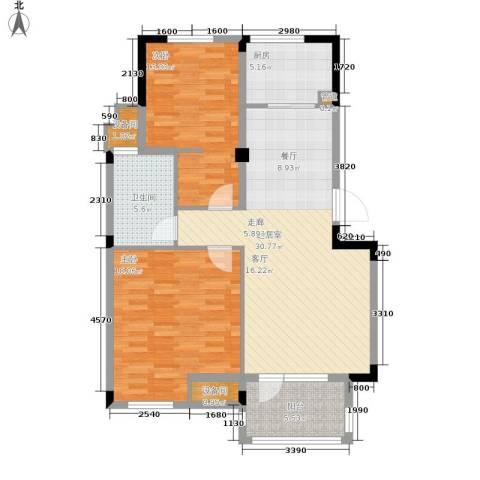 白沙苑2室0厅1卫1厨85.00㎡户型图