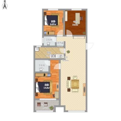 御华嘉苑(御华园)3室1厅2卫1厨124.00㎡户型图