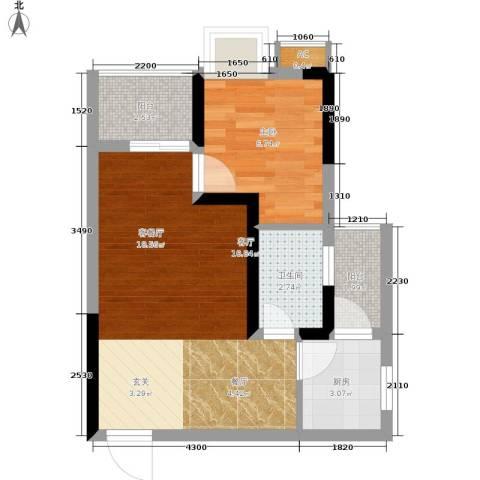 天生丽街1室1厅1卫1厨38.00㎡户型图