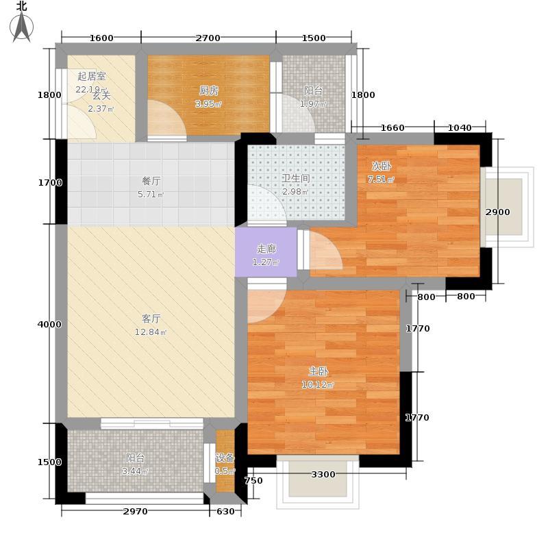 海志观月山水75.43㎡高层3-3户型2室2厅