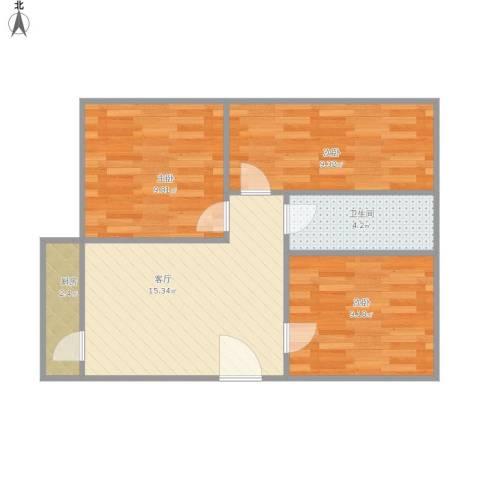 怡景花园3室1厅1卫1厨68.00㎡户型图