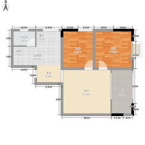 巴蜀怡苑2室1厅1卫0厨69.00㎡户型图