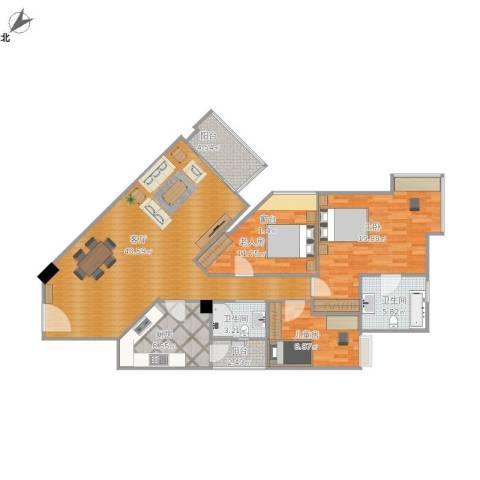 丽江花园左岸3室1厅2卫1厨142.00㎡户型图