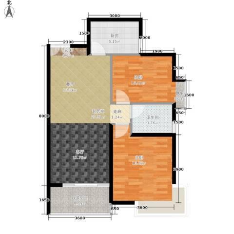 阳光新城2室0厅1卫1厨92.00㎡户型图