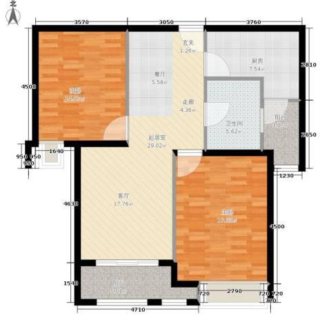 绿洲雅宾利花园2室0厅1卫1厨94.00㎡户型图