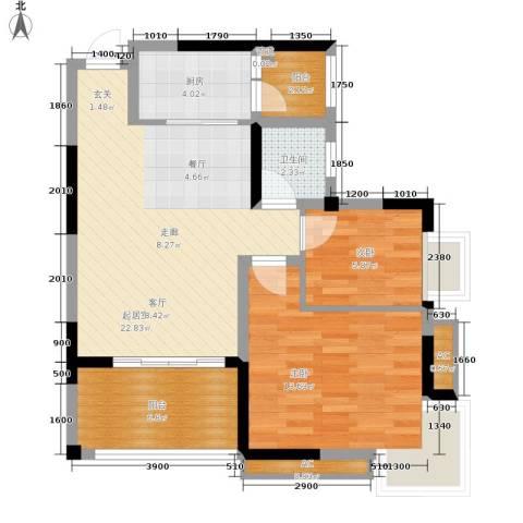星月湾2室0厅1卫1厨72.00㎡户型图