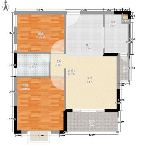 华天望族苑2室0厅1卫1厨83.00㎡户型图