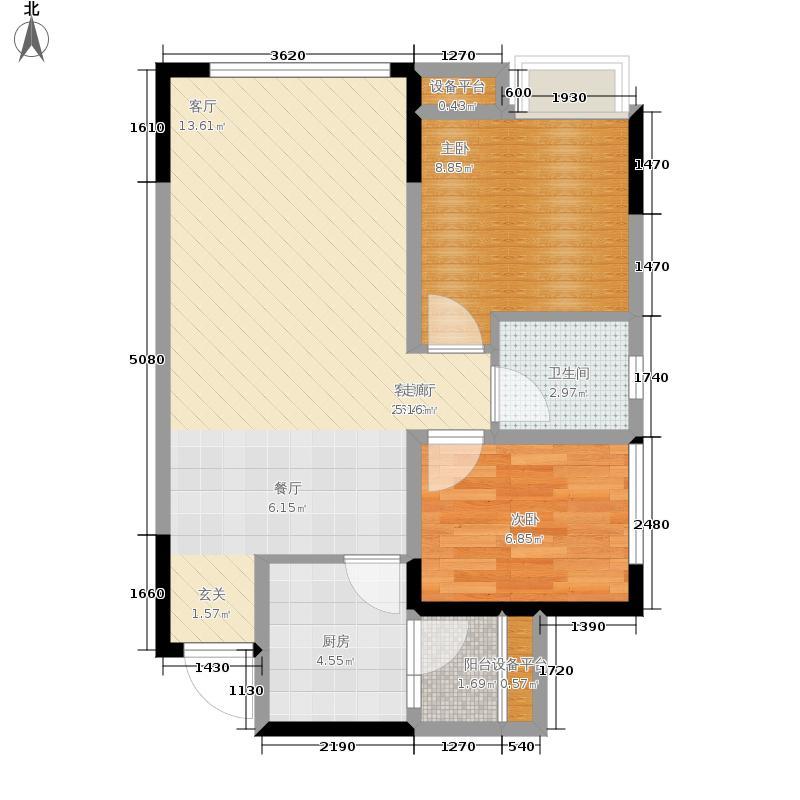 圣采泊尚64.00㎡二期15、16栋标准层A1户型