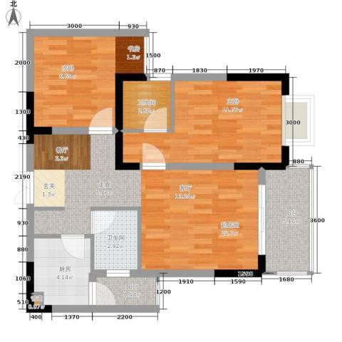 旭庆江湾国际花都2室0厅2卫1厨66.00㎡户型图