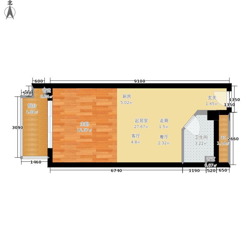 万阳城一室一厅一卫一阳台 48.11㎡户型1室1厅1卫