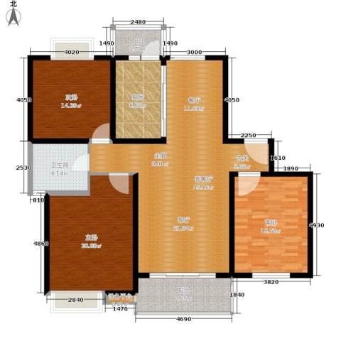 恒大翰城瀚林苑3室1厅1卫1厨137.00㎡户型图