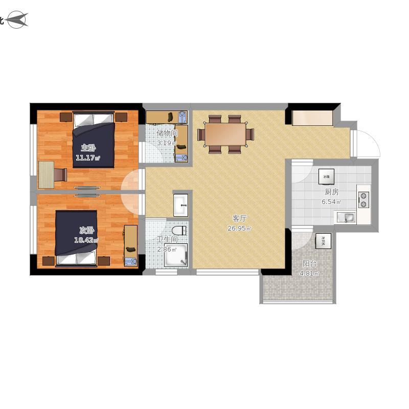 成都海悦汇城60平两室一厅D2