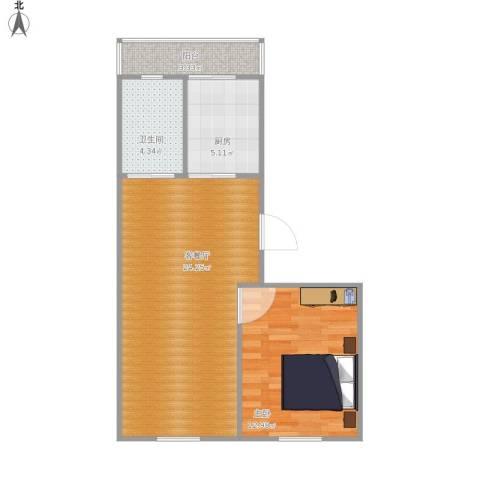 金汇雅居1室1厅1卫1厨67.00㎡户型图
