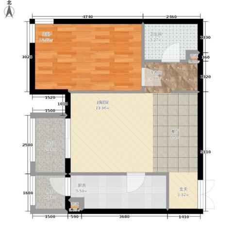格调1室0厅1卫1厨72.00㎡户型图