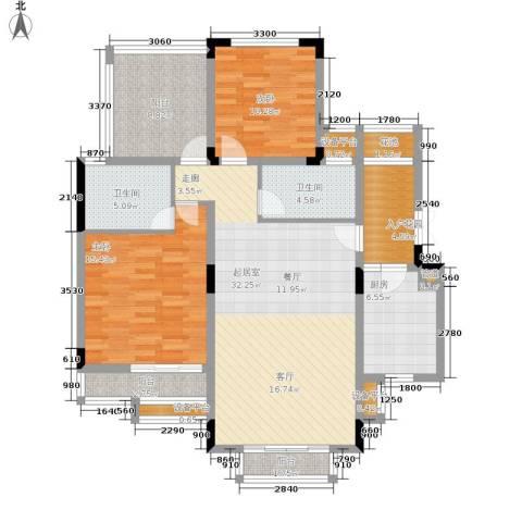 北温泉九号二期森邻海2室0厅2卫1厨111.41㎡户型图