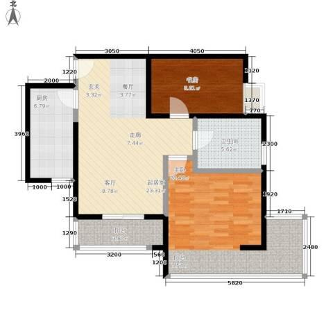 中兴财富国际公寓2室0厅1卫1厨78.12㎡户型图