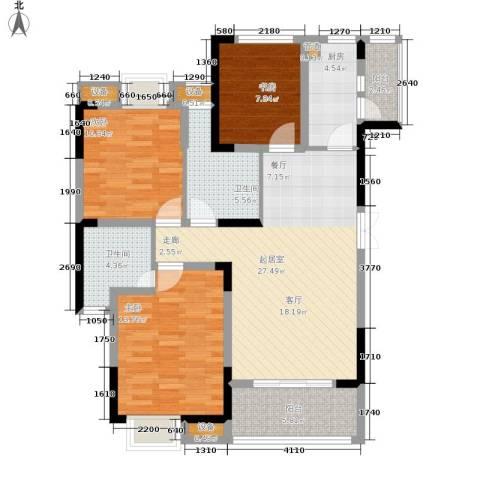 东邦城市广场3室0厅2卫1厨83.77㎡户型图