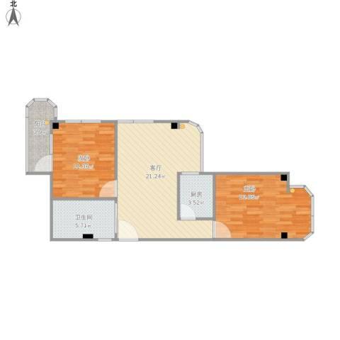 广州西槎路白云雅苑2室1厅1卫1厨81.00㎡户型图