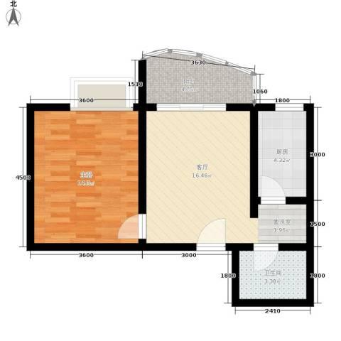 昌福盛景郦城1室1厅1卫1厨48.00㎡户型图