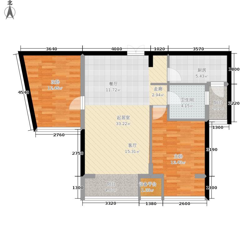 永泰枕流GOLF公寓91.16㎡一期6-7号门标准层H户型2室2厅1卫1厨户型2室2厅1卫