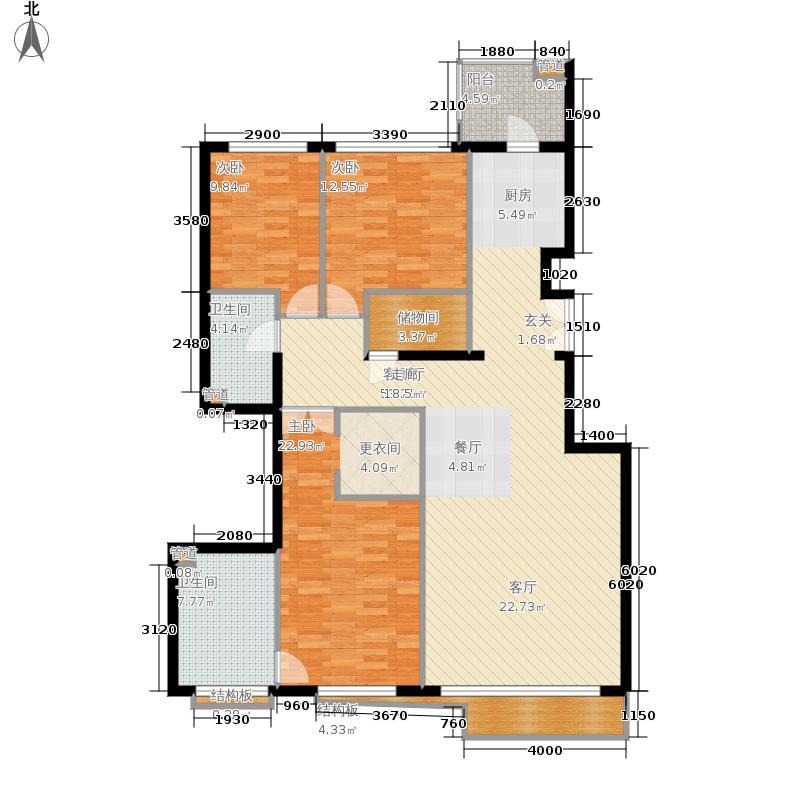 本家润园159.10㎡5号楼三单元C3户面积15910m户型