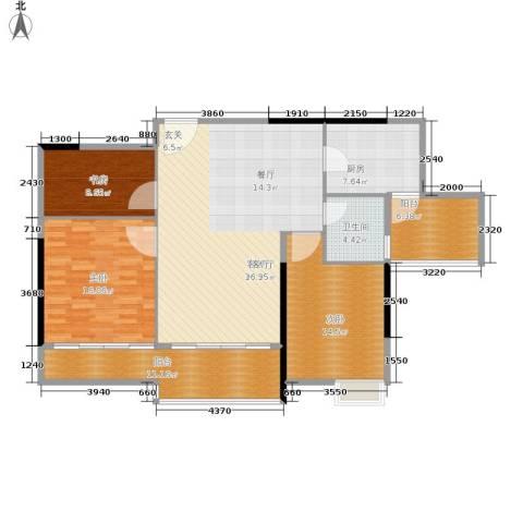 丽水箐苑3室1厅1卫1厨116.00㎡户型图