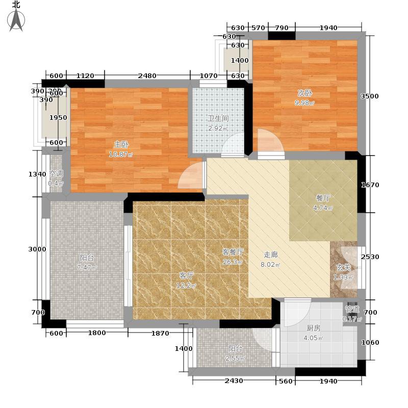 鸥鹏泊雅湾86.18㎡3号楼A1、A4户型2室2厅