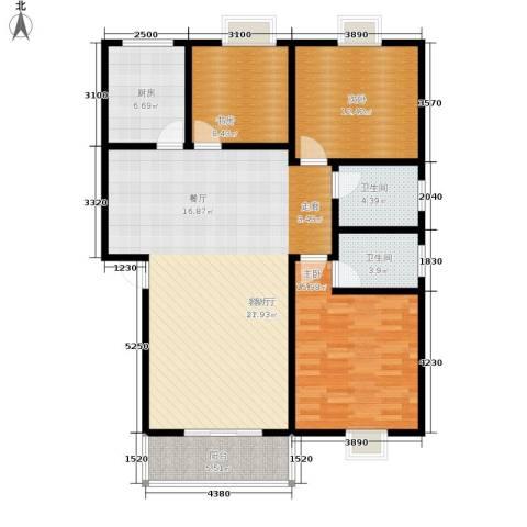 白马康居花园3室1厅2卫1厨111.00㎡户型图