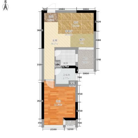 北城旺角1室1厅1卫1厨44.00㎡户型图