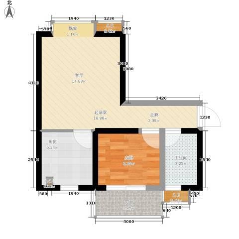 珠江华轩1室0厅1卫1厨45.00㎡户型图
