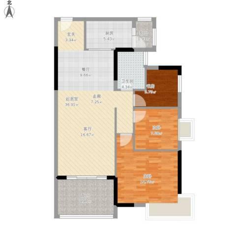 碧桂园天麓山3室1厅1卫1厨118.00㎡户型图