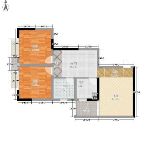 北城旺角2室1厅1卫1厨66.70㎡户型图