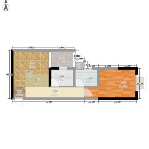 北城旺角1室1厅1卫1厨45.00㎡户型图
