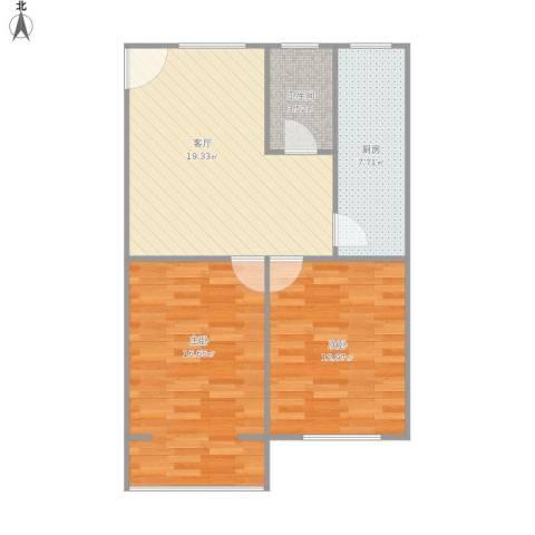 鑫宏花园2室1厅1卫1厨81.00㎡户型图
