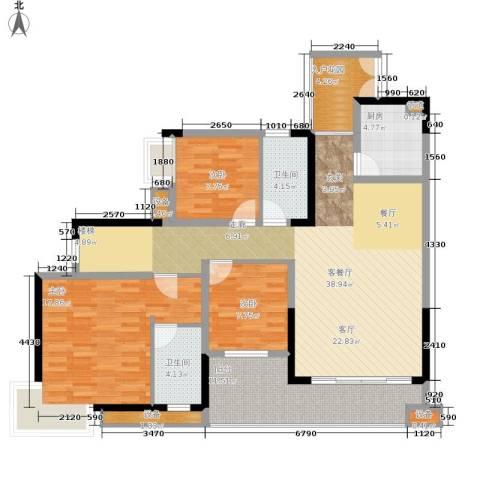 新东福花园3室1厅2卫1厨184.00㎡户型图