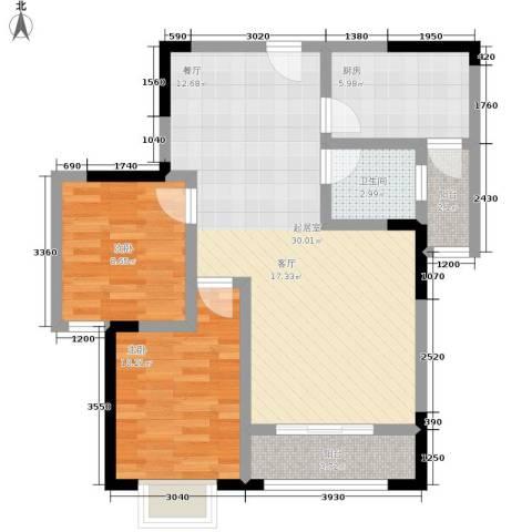 乔鹤西苑2室0厅1卫1厨83.00㎡户型图