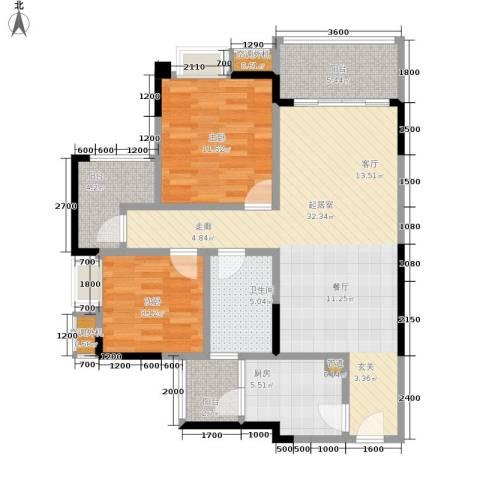 天王星铂晶城2室0厅1卫1厨77.00㎡户型图