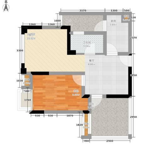 融汇半岛爱窝1室0厅1卫1厨54.00㎡户型图