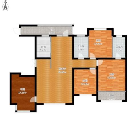 世纪学庭4室1厅2卫1厨175.00㎡户型图