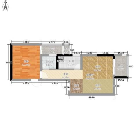 北城旺角1室1厅1卫1厨63.00㎡户型图