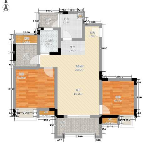 爱情谷2室0厅1卫1厨70.00㎡户型图