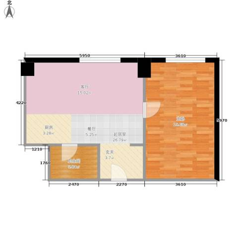 庆业巴蜀城1室0厅1卫0厨55.00㎡户型图