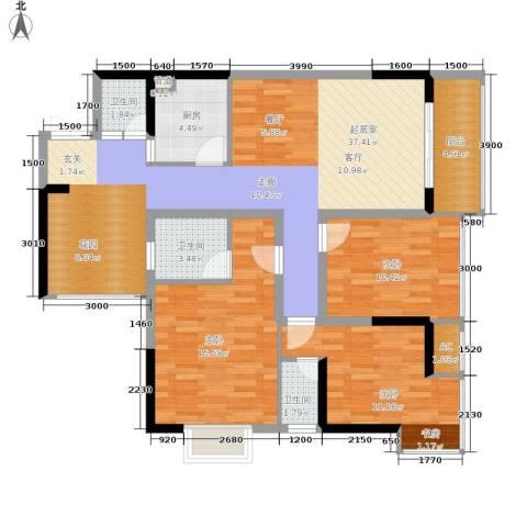 旭庆江湾国际花都3室0厅3卫1厨94.00㎡户型图