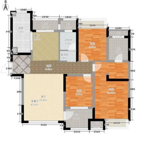 金地格林世界森林公馆3室1厅1卫1厨127.31㎡户型图