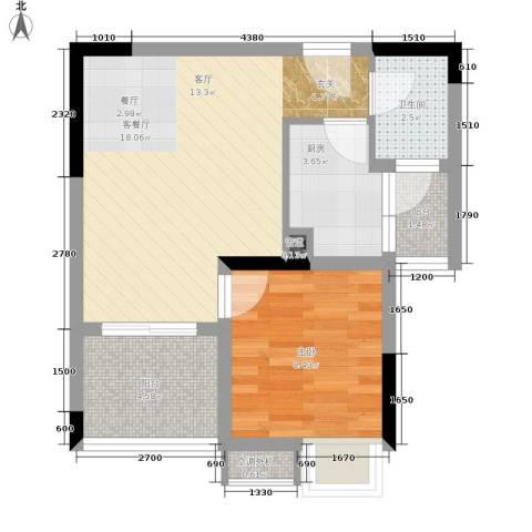 祺山・品阁1室1厅1卫1厨42.00㎡户型图