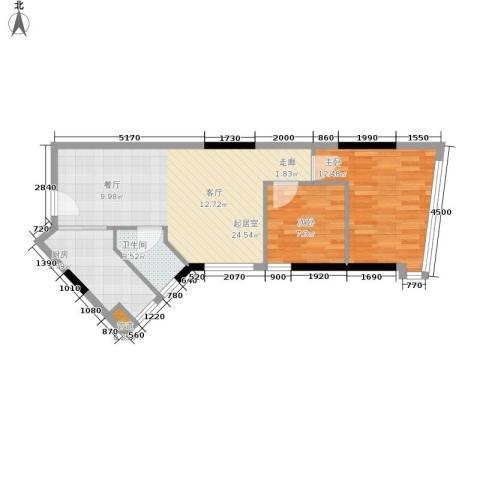 海客瀛洲2室0厅1卫1厨60.00㎡户型图